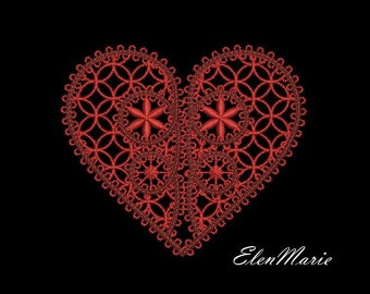 MACHINE EMBROIDERY DESIGN - Lace Heart
