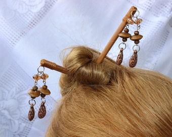 Wood hair pin, Set 2 pcs, Hair stick Pin, Boho Hair Pin, Bohemian Hair Pin, Hair Accessories