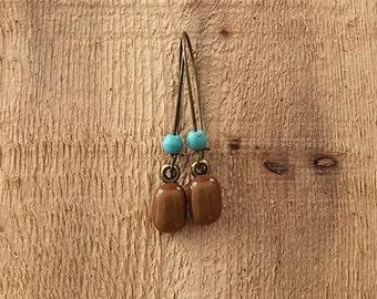 Mocha Brown Turquoise Beaded Fused Glass Earrings