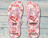 Just Married Flip flops, personalised wedding flip flops, flip flops for wedding, flip flops for brides, bride flip flop, just married