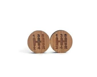 Gearshift cufflinks, gearshift wood cufflinks, shift knob cufflinks, 5 speed cufflinks, shifter cufflinks, car cufflinks, wood cufflinks