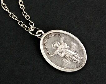 San Pancracio Necklace. Christian Necklace. Saint Pancras Medal Necklace. Patron Saint Necklace. Catholic Jewelry. Religious Necklace.