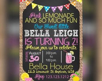 Pink Lemonade Birthday, Lemonade Stand Birthday, Lemonade Party, 1st Birthday Invitation, Lemonade Birthday, Lemonade Party, Lemonade