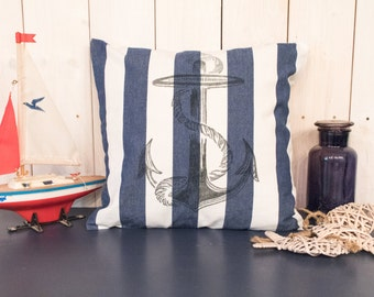 """Decorative pillows """"Anchor"""" (blue white, hand-painted)"""