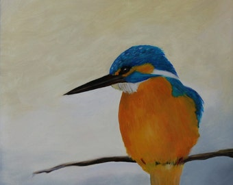 Kingfisher, Original Oil Painting on Ampersand Gesso Board, one of a kind, 30 * 40 cm