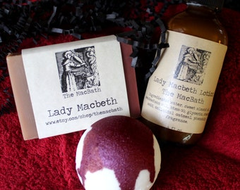 Lady Macbeth Soap, Lotion, and Bath Bomb Gift Set