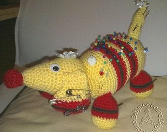 Pincushion in dog form, Amigurumi, Dachshund