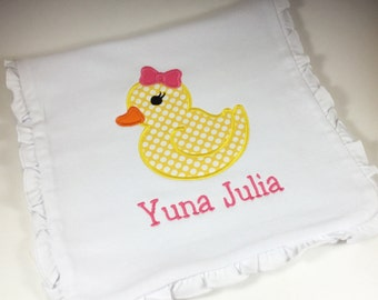 Personalized Ruffle Burp Cloth with Rubber Duck, Monogrammed Ruffle Burp Cloth w/ Rubber Duck, Rubber Duck Burp Cloth, Rubber Duck Applique