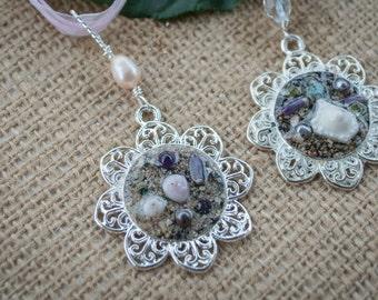 Mermaid medelians pendant/Resin Art Pendant/Hawaii beach found treasure encased in Resin/shells/beach glass/sea urchins