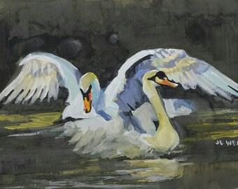 Dancing Swans Original Watercolor Painting