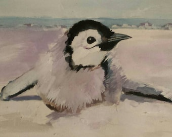 Baby Penguin Original Watercolor painting