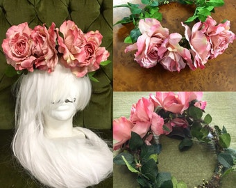 Rose floral crown head piece