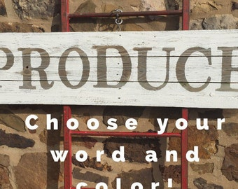 """16 1/2""""x65"""" 1 Color Reclaimed Wood Sign - farmhouse sign - farm sign - distressed - large wood signs"""