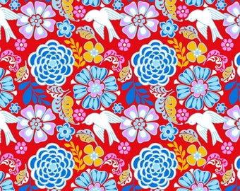 Folk Floral Fabric, Folk Floral Red Fabric by David Textile, Mexican Folklore 100% Cotton Fabric