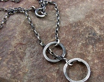 SALE on 20%off , coupon code: HAPPYSTART20 - silver minimalism - chain necklace, forged