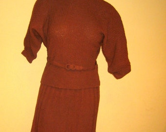 Vintage Textured Sweater Set. 1950. Wool. Working Clothes of my Mom's. NO Moth holes. Incredible. Textured Cinnamon Brown. Size 10 maybe 12