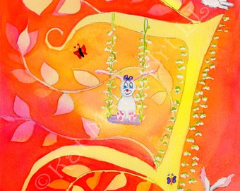 Magic T Bunny Caligraphy Fantasy Watercolor giclee for Child's room, playroom or Nursury interior design, free shipping