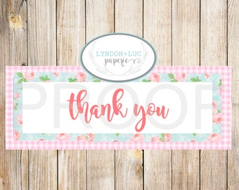 "Girly ""Thank You"" Treat Bag Tags"