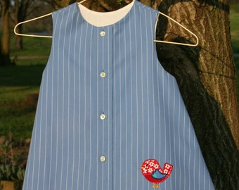 Blue with a White Stripe Dress/Jumper with an Appliqued Bird
