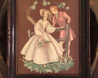 Antique Framed Romantic Lithograph Victorian Courting Couple Signed by Brewster