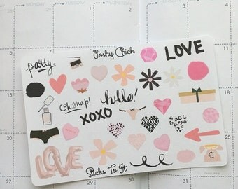 Poshy Chick Embellishment Stickers ECLP Mambi Inkwell Press Filofax Kikki K Happy Life Planner pink hearts diamonds girly
