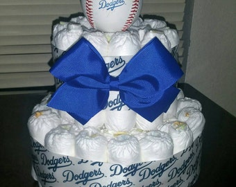 Dodgers themed diaper cake, 2 tier