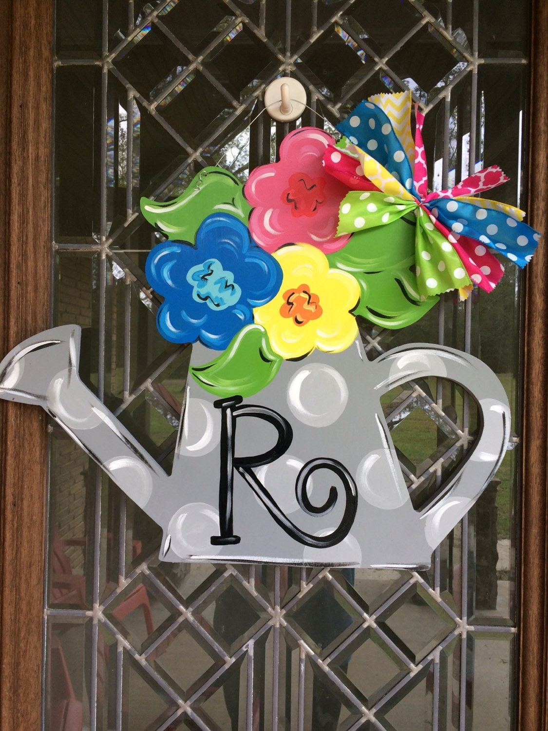 Watering Can With Flowers Door Hanger Spring Door Hanger