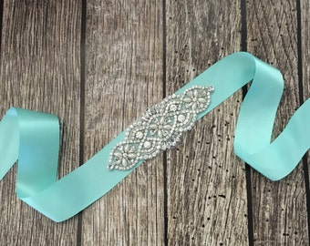 Aqua wedding sash, rhinestone wedding sash, all white sash, wedding belt, simple wedding sash, aqua sash