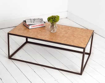 Handmade Industrial Coffee Table with Reclaimed Oak in a Checker Board Style