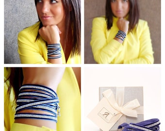 BLUE wrap versatile bracelet with swarovski crystals