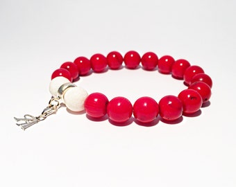 Natural red and white coral bracelet with Sterling silver charm