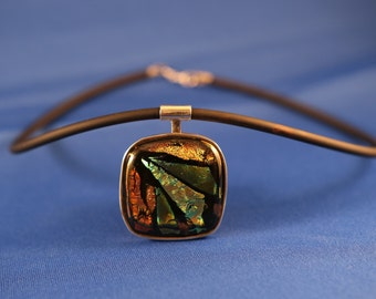 Silver Pendant of dichroic glass