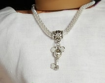 "18"" Girl Doll Mickey Mouse Ears Key Necklace, -American Doll  One Size Metal Necklace, Alligator Clasp"