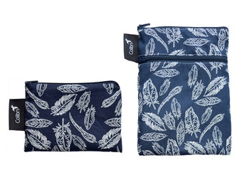 Ready to ship - Mini wet dry wet bag and matching Pocket Wet Bag with zipper and PUL liner great for cloth pads - feathers