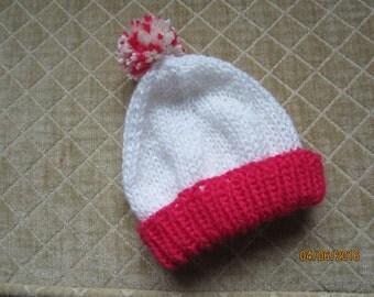 Hand knit, newborn hat, red & white
