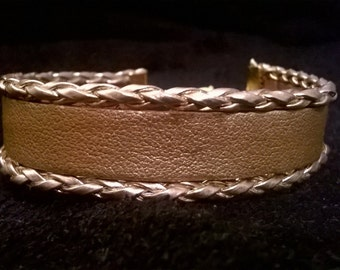 Elegant handmade golden leather bracelet