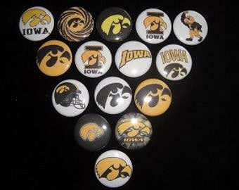 Iowa Hawkeyes Buttons set of 15