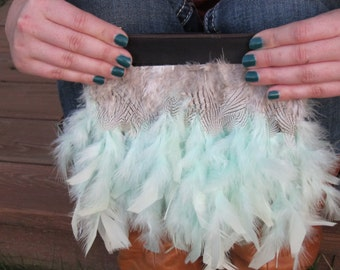 Aqua Feather Bag