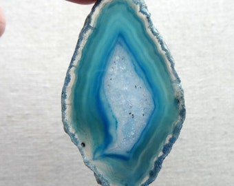 Dyed Blue Agate Slice - 57x33x4mm - Jewelry Making Supplies, Wire Wrapping Supplies