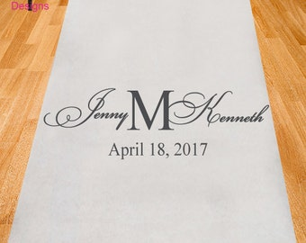 Modern Elegance Personalized Wedding Aisle Runner - Wedding Aisle Runner - Plain White Aisle Runner (ppd28)