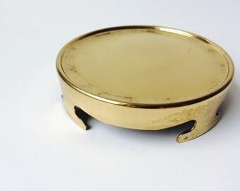 Brass Hollywood Regency Style Round Stand/Brass Candle Stand/Brass Pedestal/Hollywood Regency Home Decor