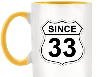 US Route 66 Roadsign 33 2-Tone Mug with matching handle and inner - 10 colours available