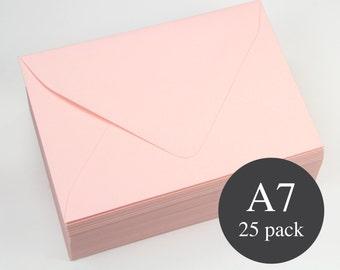 25 - Pink Euro Flap Envelopes - A7 (5 1/4 x 7 1/4) - Matte (Rosa)