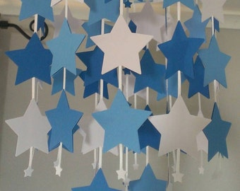 Blue and White Star Mobile - Boys