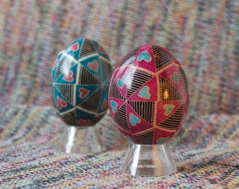 Pair of Valentine's Day Pysanky in Pink and Blue