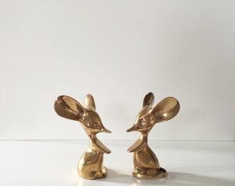 Vintage Brass Mice (Set of 2)