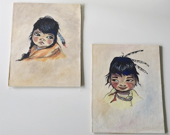 Vintage Portraits of Native Boy and Girl (Set of 2)