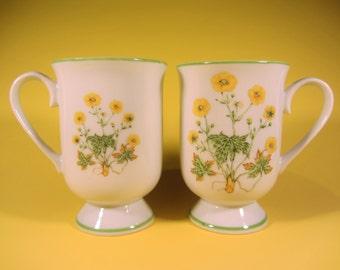 Vintage Royal Domino Sunrise Floral Collection Genuine Porcelain China Coffee Tea Mugs Set of 2 Japan