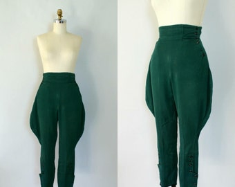 1930s Dark Green Sturdy Jodhpurs Riding Pants made by Western Brand ALLEN