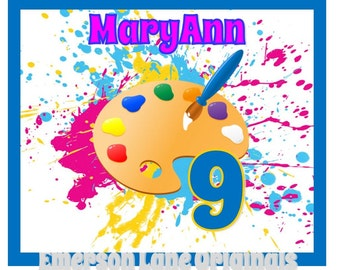 DIY Artist Paint Party Birthday Iron On - Personalized with Name and Age - Lightweight Vinyl Transfer - Art Monogram - Paint Party - Favors